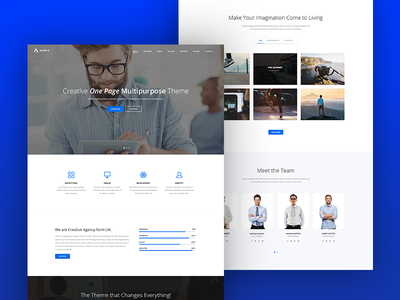 AgentX Landing Page template theme portfolio testimonial blog team home design ux ui flat landing