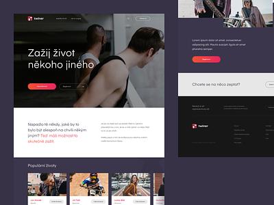 Twiner.cz – Homepage live platform service company boy people sketch app homepage webdesign interface web simple minimalistic clean czech website ux 2d ui design