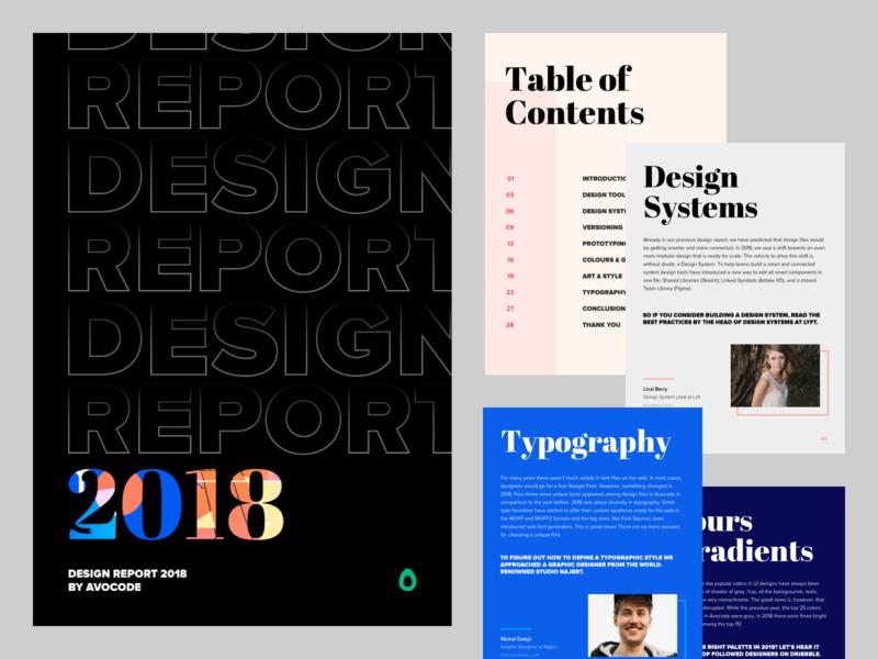 Design Report 2018 - PDF logotype pdf vector 2d typography branding minimalistic czech simple clean illustration avocode 2018 design report design systems cover book ebook report design