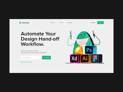 Landing page Experiment 001 animation app company sketch webdesign minimalistic web typography czech illustration landing avocode avocado website simple clean 2d ui design landingpage