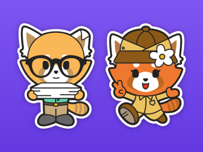 Kaz and Ana red panda character design mascot sticker panda