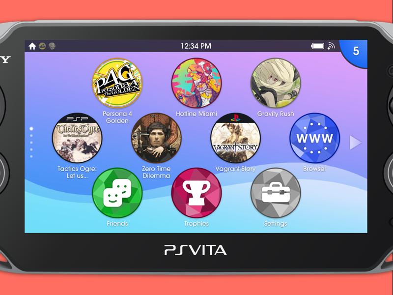 PS Vita Homescreen Redesign video games ui vita sony playstation