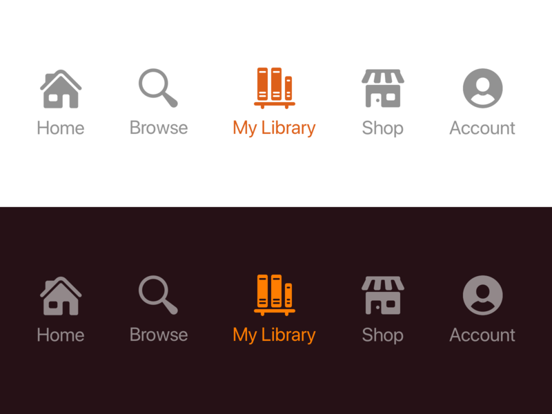 Nav Bar Icons ios account shop library search home icon icons