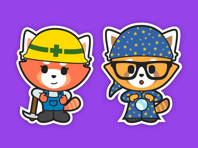 Mina and Otto sticker red panda panda mascot character design