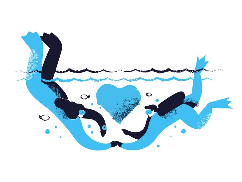 Deep love illustration character love valentine blue scuba diver diving creative figma sketch guide landing empty state vector illustration