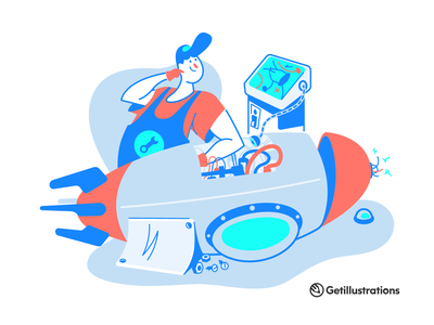 Monochromatic illustrations illustration art 404 error 404 startup repair shop rocket character person man guide landing emptystate scene vector illustration