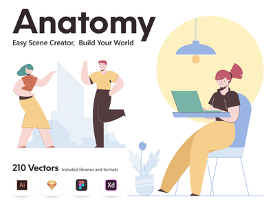 Anatomy illustrations Builder scene creator scene people character creative ui design website illustration illustrations design vector illustration