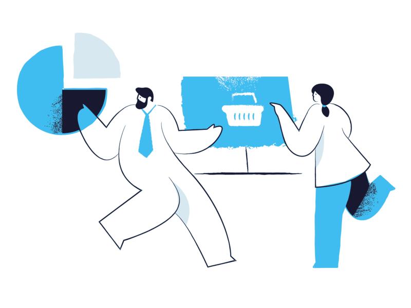 Zima blue illustrations pack chart analytics success business character design website illustrations character blue zima vector illustration