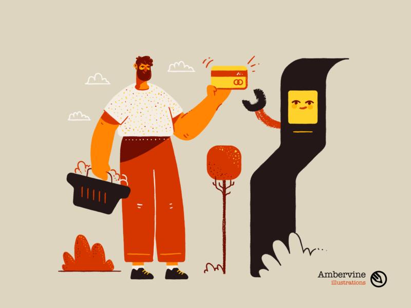 AmberVine illustrations illustrations/ui creative meditation yoga spaceman shopping hand drawn website illustrations childrens book vector illustrations