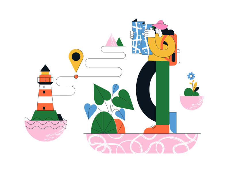 Playful illustrations pack illustration colorful geometrical directions map wayfinding discovery website illustrations illustrations