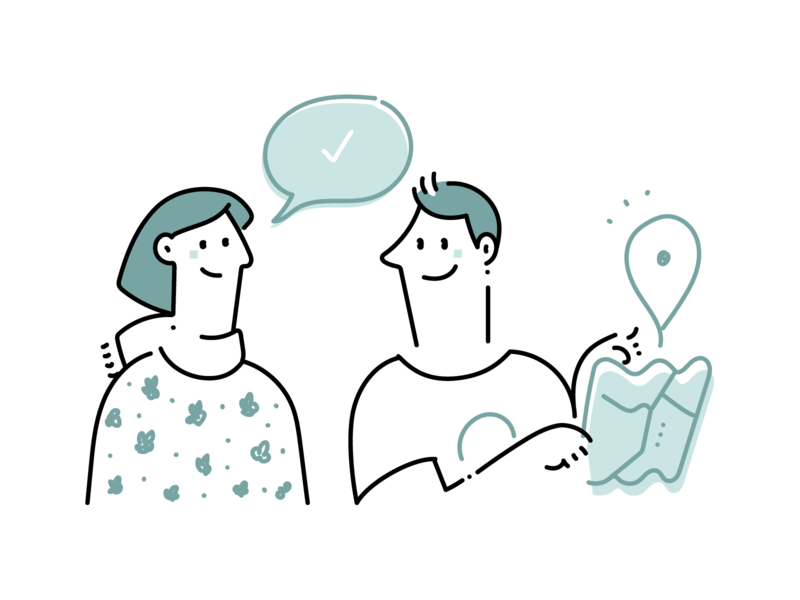 Tuesday illustrations WIP website illustrations tuesday directions communication people social map illustrations