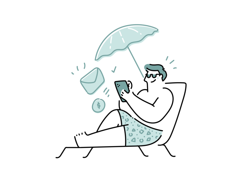Tuesday illustrations WIP vacation holiday duotone working man happy beach business illustrations line outline illustration