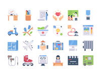 Flat icons Vol 5 commercial creative simplified colorful education science blueprint map business color soft icons web icons flat icons
