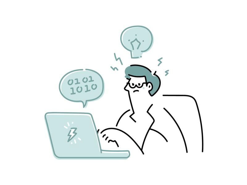Tuesday illustrations - Web Developer outline line at work man laptop working business work web illustrations illustration page not found 404