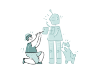 Build Robot illustrations website illustration cartoon outline person cat automation robots collab construction team web illustration illustration robot