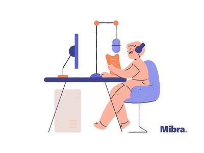 Mibra illustrations WIP communication conversation talk show show online mic podcast drawing vector illustrations mibra