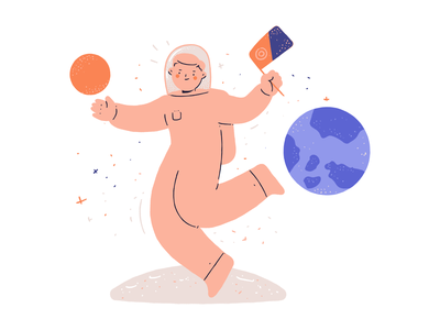Space exploration illustration character hand drawn explore discovery astronaut spaceman space illustration
