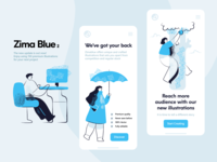 Zima blue illustrations ver 2 website illustrations update womans woman person work security empty state landing page app ui reach blue character vector illustration