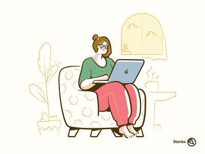 Stories illustrations design avatar outline illustration ux ui creative logo working from home laptop working woman vector illustrations