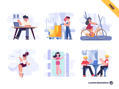 Loomies free illustration pack svg ai figma sketch character business factory bicycle relax coworking pool website seo vector freebie illustrations free