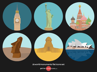 World Monuments Flat Icons Set