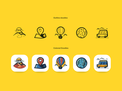 Doodle icons vector desert egypt location map taxi globe tourism travel colored outline doodleart icon pack icons doodle