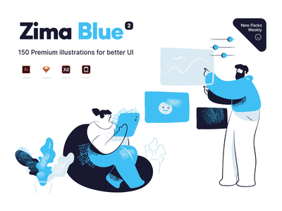 Zima blue illustrations minimal app illustration illustrator brush character design landing page scene vector blue character illustration