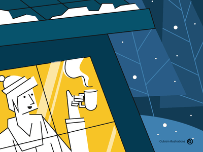 Winter Night closeup landing page vector cubism cube cubic winter is coming skating snow ice hut winterboard ai svg illustrator illustrations sports winter illustration
