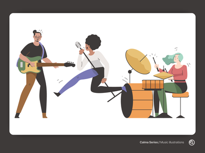 Music illustrations design vector flat music art musician figma svg illustrator illustration music player band drummer singer guitar concert song music
