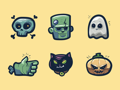 Halloween icons illustrations outline vector icon set doodle cat illustration icon skull zombie ghost evil scary pumpkin halloween