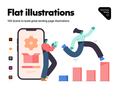 Flat illustrations startup business navigation builder characters ui landing page colors app website statistics flat vector illustrations illustration