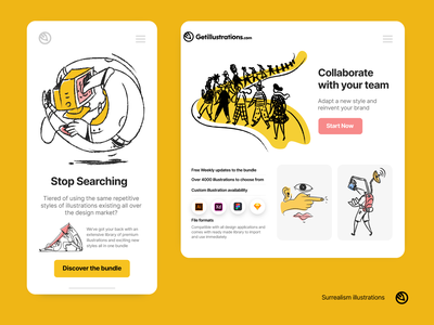Surrealism illustrations ui design download svg library coworking outline surrealism visual success search team collaboration application illustrations landing page