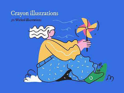 Crayon illustrations for UI outline branding landing page svg sketch illustrations creative doodle happy ui design character crayon illustration