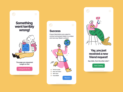 Web and app illustrations message success landing page 404 error communication ui interface app website doodle vector illustration