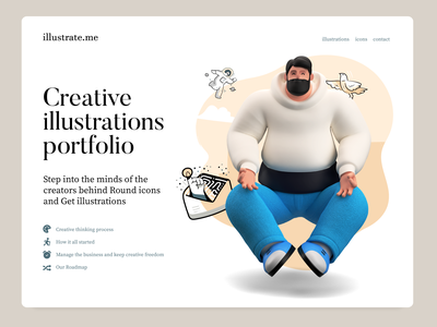 Illustrations Website UI mockup web design meditate icons creative illustration portfolio website character 3d