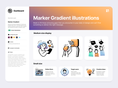 Marker gradient illustrations Pack icons icon small gradient illustrations landing page website ux ui outline line branding illustration vector