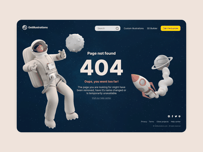 404 Page 3D illustrations 3d 3d ilustration lost planet rocket astronaut space ui website error page error 404