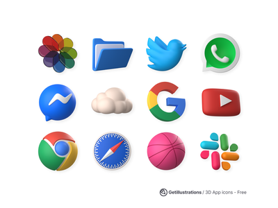 Free 3D Application Icons icon set branding freebie twitter facebook blender ui getillustrations 3d illustrations 3d icons apple ios social download free 3d icons