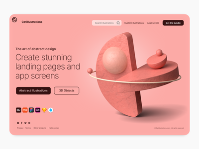Abstract 3D illustrations website shapes composition obj creative landing page ux ui illustration illustrations cinema 4d blender 3d abstract