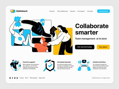 Illustrations for website UI chat team collaboration support flat design ui illustration vector illustrations startup