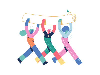 Downtown Team illustrations downtown getillustrations colorful happy creative flat sport party characters people vector effort work collaboration team illustration