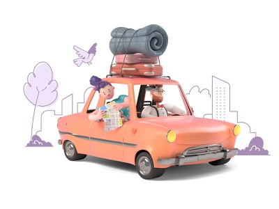 3D illustrations with flat backgrounds design line getillustrations illustrations illustration travel happy flat vector character people avatar road trip 2d 3d