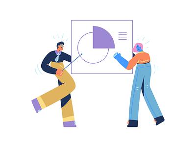 Team Work illustrations design getillustrations vector colorful creative illustrations work character flat line fintech startup teamwork illustration team