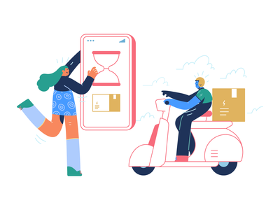 Delivery logistics illustrations colorful flat person character man girl vector getillustration order route logistic logistics app bike delivery illustration