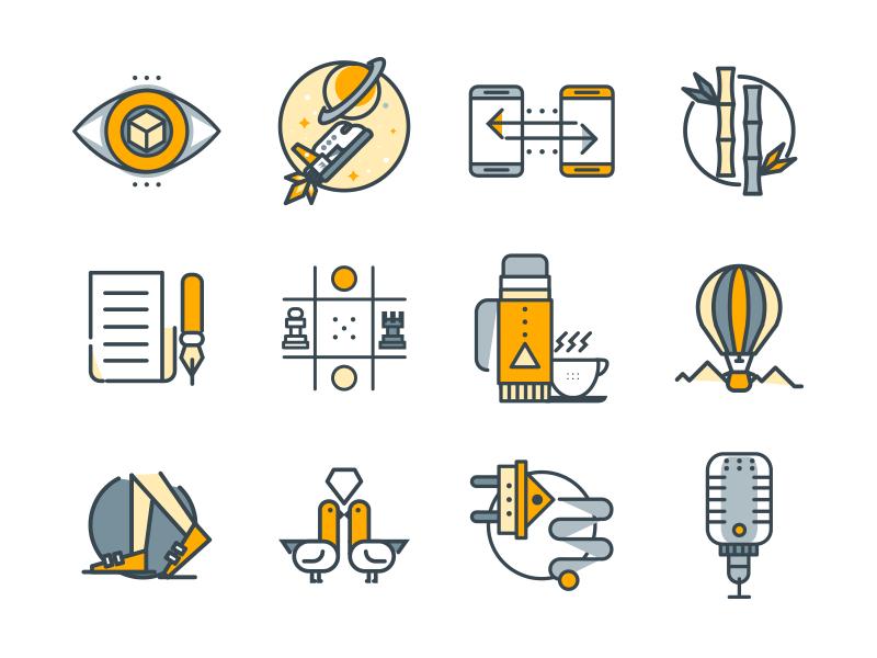 35 Free Icons - Funlineicons freebie minimal vector line flat icon set set icons free free icons