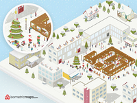 Isometric Maps Christmas sim creative snowing xmas vector builder map city christmas isometric