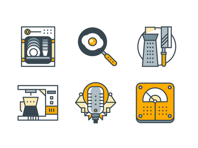 Home Appliance Funline icons vector icons flat line appliance home coffee mic weight scale knife dish washer egg