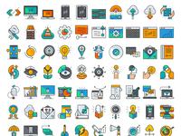 Business development flat icons
