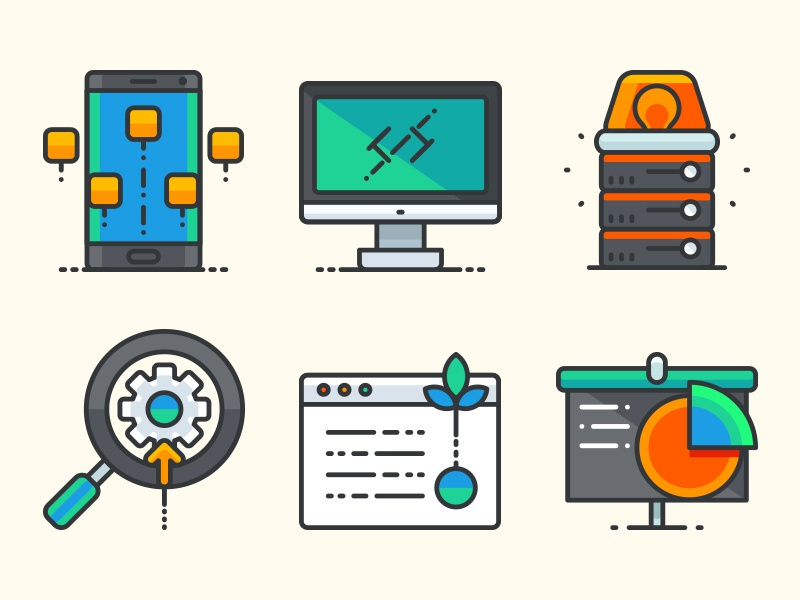 Business and app development filled outline icons Set commercial icon application pack icons outline filled development business