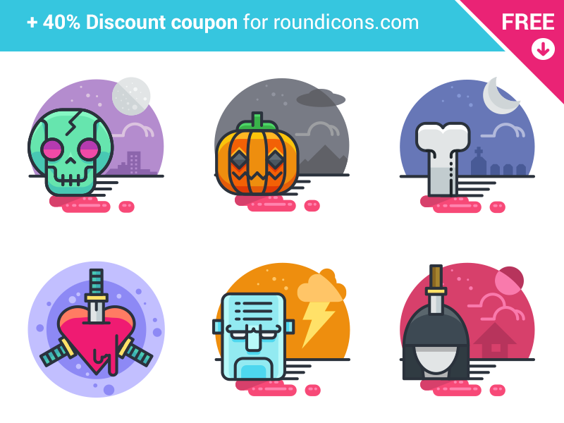 20 Halloween Flat Icons - FREE filled line night pumpkin skull scary free icons flat halloween